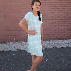 NWT Simply Southern Blue Taffy Tie Dye Swing Dress